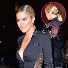 KHLOE KARDASHIAN HAIRSTYLE: Khloe Kardashian wore this super-straight, sleek ponytail for an appearance recently (a style completely different than her usual wavy hair), but it's the stacks of contrasting bobby pins behind both of her ears that are making people obsess over this look. Click through for all the details from her hairstylist stylist César DeLeön Ramirêz so you can DIY this look yourself!