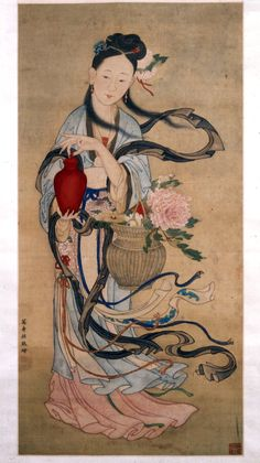 Hanging scroll. The lady of the fragrant rose garden. Immortal with vase of flowers. Ink and colours on silk. Chiina 1603-1652 (artist).