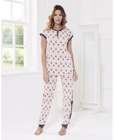 Short Sleeved Owl Print Pajama Set: Short cap-sleeved top has contrast ribbed trim to neck and sleeves. With dipped hem and two-button fastening to front neck. elasticized-waist bottoms have contrast ribbed waistband, leg cuffs and side trim.