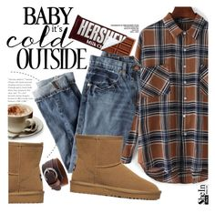 """It's cold outside"" by pokadoll ❤ liked on Polyvore featuring Hershey's, J.Crew, vintage, Sheinside and shein"