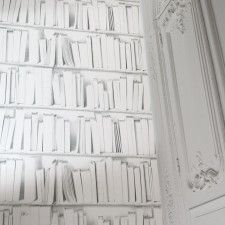 White Library Wallpaper - maybe in the bathroom