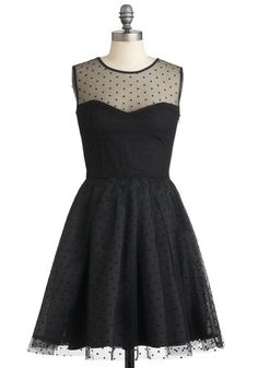 Have It All Dress - Sheer, Mid-length, Black, Party, Film Noir, Ballerina / Tutu, Sleeveless, A-line, Polka Dots, Cocktail, Holiday Party, Cotton