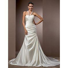 trompeta / sirena cabestro capilla de tren vestido de novia de raso – USD $ 197.99