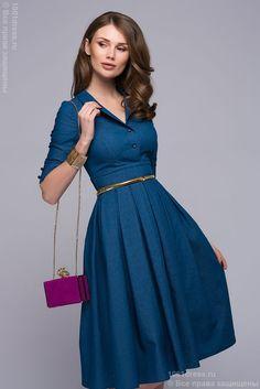 Платье голубое джинсовое длины миди с отложным воротником и юбкой в складку в интернет-магазине 1001DRESS