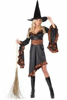 WITCH RUFFLE COSTUME ADULT*CLEARANCE*