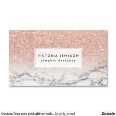Custom faux rose pink glitter ombre white marble Double-Sided standard business cards (Pack of 100)