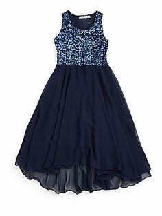 Flowers by Zoe Girl's Sequin Hi-Lo Dress - Possible 6th Grade Graduation Dress..