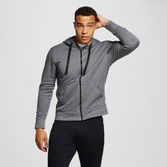 Men's Tech Fleece Full Zip Hoodie Dark Gray L - C9 Champion, Charcoal Heather