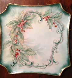 images about Painting Holly Christmas China, Christmas Dishes, Christmas Tablescapes, Christmas Art, Xmas, Christmas Dinnerware, Decoration Christmas, Hand Painted Plates, Christmas Paintings