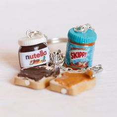 Nutella skippy Miniature food polymer clay keychain with by Zoozim, $21.00