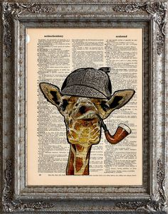 Giraffe Sherlock original artwork from EcoCycled - graciously donated by the artists for our fundraiser! Check out their Etsy shop!