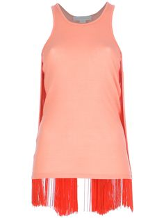 Orange cotton-silk blend vest top from Stella McCartney featuring a round neck, a straight hem, and draped orange fringing at the sides and rear.