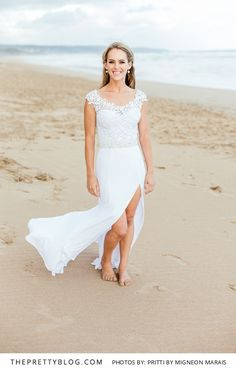 Absolutely beautiful wedding dress for a casual beach wedding. Photograph by Pritti