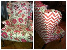 Reupholstered chair. Ashley Marie