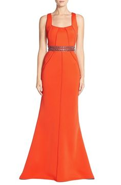 Terani Couture TeraniCouture Embellished Illusion Back Neoprene Gown available at #Nordstrom