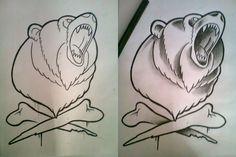 old school bear tattoo design - Google zoeken