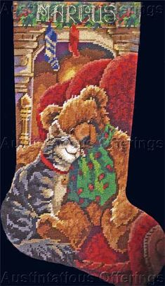 Tabby Cat Teddy Bear Rossi Christmas Needlepoint Stocking Kit