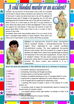 A cold blooded murder or an accident? – crime vocabulary + comprehension tasks] KEYS INCLUDED pages)) ***editable - English ESL Worksheets for distance learning and physical classrooms Comprehension Exercises, Reading Comprehension Activities, Reading Worksheets, Printable Worksheets, Education English, Teaching English, Reading Skills, Teaching Reading, English Lessons