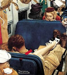 Norman Rockwell ~ Little girl observing lovers on a train, Saturday Evening Post cover. Peintures Norman Rockwell, Norman Rockwell Art, Norman Rockwell Paintings, Gouache, Willem De Kooning, Illustrations, Illustration Styles, Illustration Artists, Pin Up Art