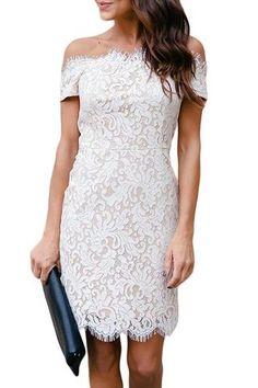5fe0a665e799 White Eyelash Lace Trim Off Shoulder Mini Dress Floral Lace Dress