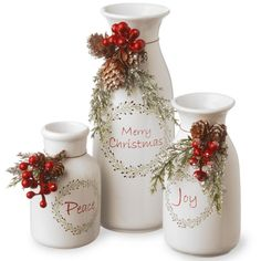 Shop for Holiday Antique-style Milk Bottles Set. Get free delivery On EVERYTHING* Overstock - Your Online Christmas Store! Get in rewards with Club O! Christmas Store, Christmas Holidays, Christmas Ornaments, Merry Christmas, Christmas Ideas, Christmas Gifts, Indoor Christmas Decorations, Christmas Centerpieces, Natal Country