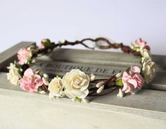EVELINE Pale Pink Tuscan Rose and Ivory Pearl Pip Berry Floral Crown, Flower Girl Halo, Bridesmaid Garland, Boho Wedding, Ivory Flower Crown