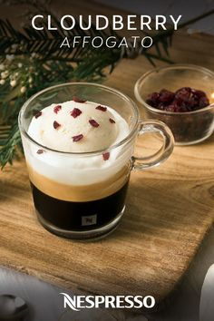The deliciously indulgent taste of this Cloudberry Affogato has us floating away. Just combine vanilla ice cream, whipped cream, and dried cranberries with the bold, aromatic flavor of Nespresso coffee. It's a pairing that can't be beat! Click here to learn more about this dessert coffee recipe.