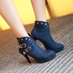 Women's Pure Color Thin Heel With Back Zippers Suede Band Metal Decoration Boots