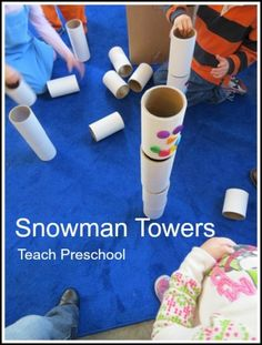 Art therapy activities preschool Snowman Towers-can use paper tubes or PVC pipe-by Teach Preschool