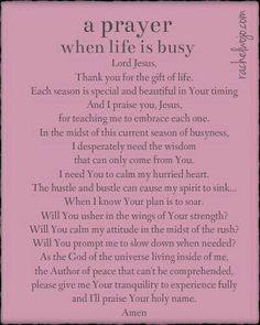 Prayer for busy life