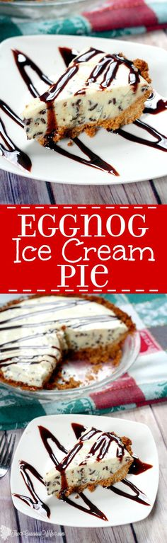 Eggnog Ice Cream Pie recipe is a heavenly and unique Christmas dessert with an easy graham cracker crust and homemade eggnog ice cream with mint chocolate chunks. All Christmas recipes should have eggnog, especially desserts! So yummy!