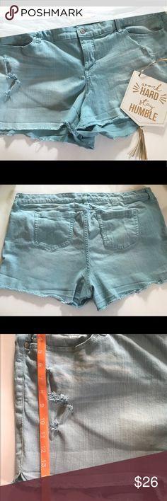 Torrid blue distressed blue shorts Super cute in great condition Mini shorts 98% cotton 2 % Spandex torrid Shorts Jean Shorts