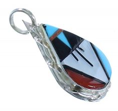 Zuni Indian Sterling Silver And Multicolor Inlay Pendant