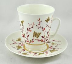Russian Teacup and Saucer Set.. Butterflies Botanical Russian USSR