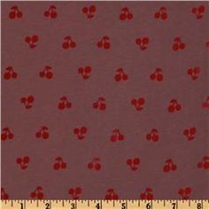 mauve with red cherries $3.59/yd