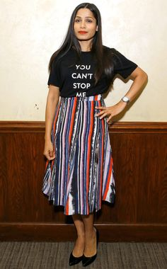 Freida Pinto in a Prabal Gurung t-shirt and striped midi skirt Celebrity Outfits, Celebrity Style, Freida Pinto, Prabal Gurung, Night Looks, Red Carpet Dresses, Red Carpet Looks, Indian Outfits, Her Style