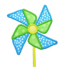 Machine Embroidery Design Applique Pinwheel Pin Wheel Instant Download 4053