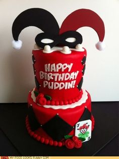 Harley Quinn Cake Want one for my birthday Cupcakes, Cupcake Cakes, Crazy Cakes, Fancy Cakes, Creative Cakes, Creative Food, Joker Cake, Amazing Cakes, Beautiful Cakes
