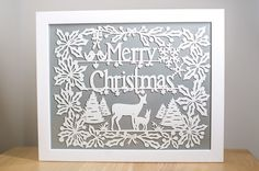 Merry christmas Papercut Template  DIY by papercutperfection