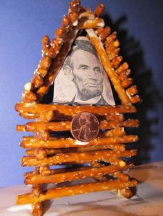 President's Day Pretzel Log Cabin