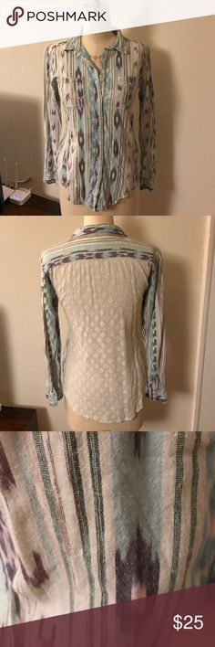 Free People Lace Backed Ikat Patterned Button Down Free People white lace backed, ikat patterned button down shirt. Size small. EUC. Free People Tops Button Down Shirts