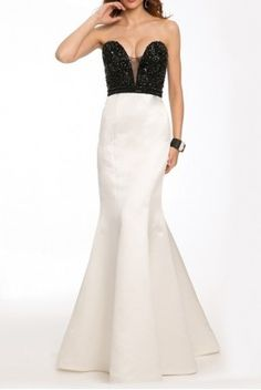 Jovani 22720 Black and White Mermaid Gown Long Dress