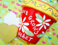 Painted Terracotta Pot- 4 Inch Love