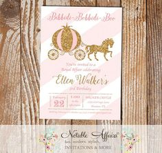 Princess Horse and Carriage Birthday Invitation on diagonal stripes - Pink light pink and glitter gold - wording can be changed