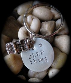 It's a JEEP Thing - JEEP Wrangler Hand Stamped Nickel Silver Keychain. $16.00, via Etsy.