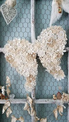 Vintage crochet doily angel wings, Shabby Chic, Christmas decor, wreath, wire wings