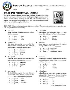 Person Puzzle Girl Power! Algebra -- Rewriting Linear Equations in Slope Intercept Form -- Babe Didrikson Zaharias