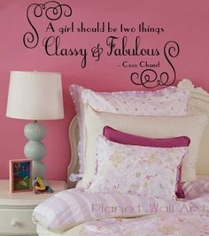 Wall Decal COCO CHANEL  A girl should be two things fabulous and classy  Vinyl Decal Quote