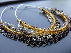 Triple Multi Chain Amber Crystals Silver Hoop Earrings by SydneyAustinDesigns, $20.00