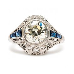Vintage Antique Sapphire Diamond Engagement Ring | Art Deco Sapphire Diamond Engagement Ring trumpetandhorn.com | $10,600